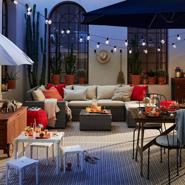 SOLLERÖN modular corner sofa 4-seat, outdoor with footstool dark grey/Hållö beige 82 cm 82 cm 287 cm 162 cm 2 cm 54 cm 40 cm 62 cm 62 cm