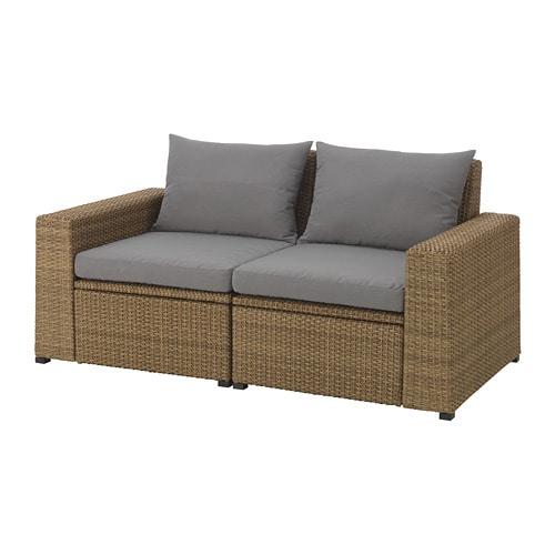 Soller n 2 seat sofa outdoor brown h ll grey ikea - Ikea sofa exterior ...