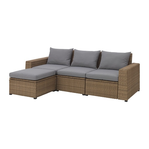 soller n 3 seat sofa with footstool outdoor brown h ll grey ikea. Black Bedroom Furniture Sets. Home Design Ideas