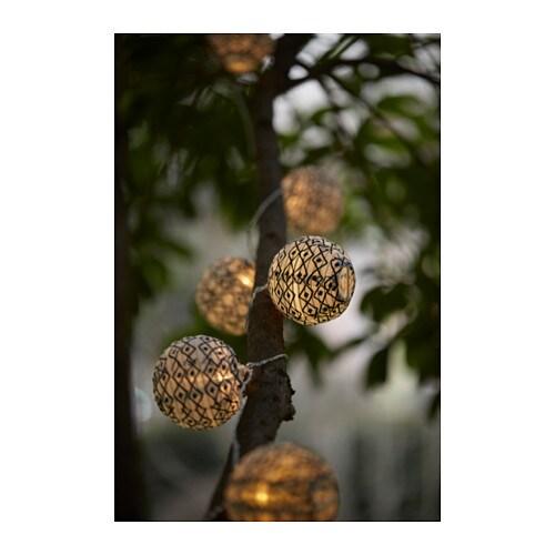 SOLVINDEN Decoration for lighting chain, globe black/white globe black/white -
