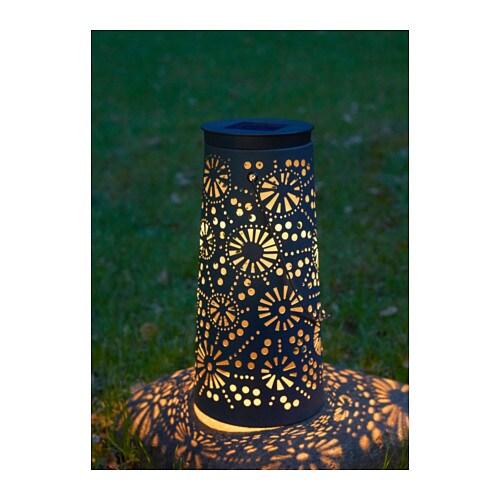 SOLVINDEN LED solar-powered floor lamp, cone-shaped grey cone-shaped grey 45 cm