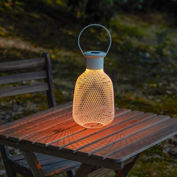 SOLVINDEN LED solar-powered lantern, outdoor/mesh white