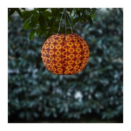 SOLVINDEN LED solar-powered pendant lamp, globe orange/red globe orange/red 30 cm