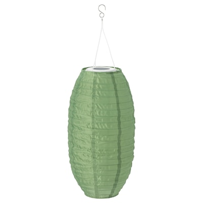 SOLVINDEN LED solar-powered pendant lamp, outdoor/oval green, 43 cm