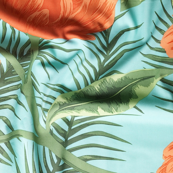 SOMMAR 2020 Fabric, turquoise orange/flowers and leaves, 150 cm