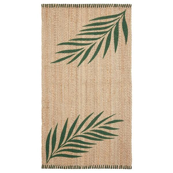 SOMMAR 2020 Rug, flatwoven, green leaves/natural, 80x150 cm