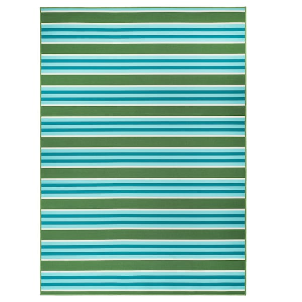 SOMMAR 2020 Rug flatwoven, in/outdoor, striped/green/white, 170x240 cm