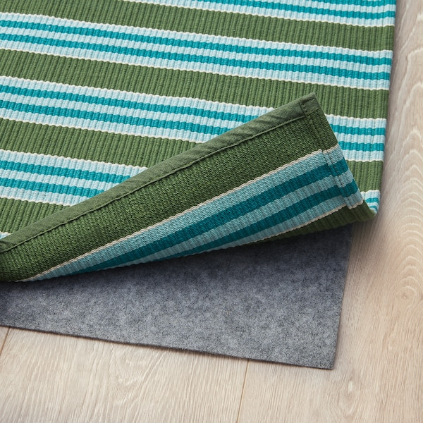 SOMMAR 2020 Rug, flatwoven, striped turquoise/green, 80x150 cm