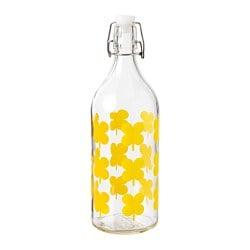 SOMMAR 2019 bottle with stopper, clear glass, patterned
