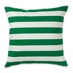 SOMMAR 2019 cushion cover, white, green/yellow striped