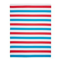 SOMMAR 2019 rug, flatwoven, blue in/outdoor, blue red white/red