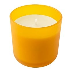 SOMMAR 2019 scented candle in glass, yellow Lemon, yellow