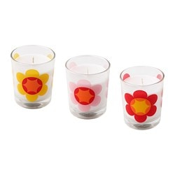 SOMMAR 2019 unscented candle in glass, flower