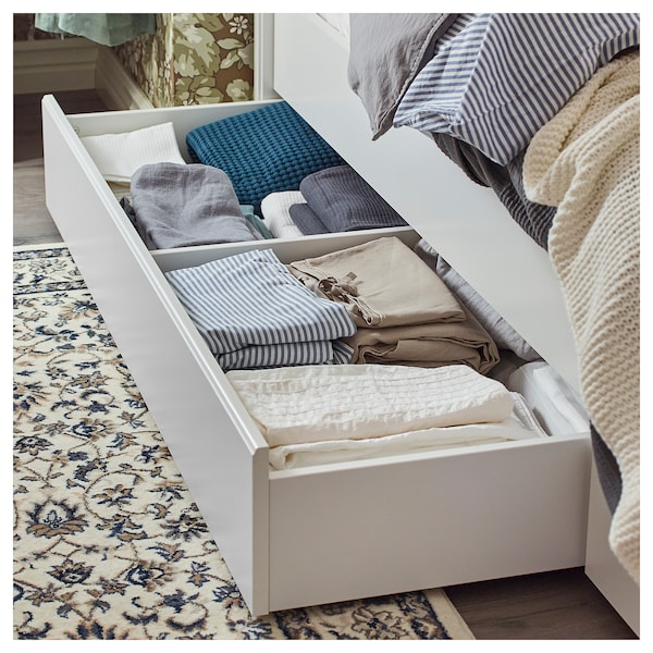 SONGESAND Bed frame with 4 storage boxes, white/Luröy, Queen