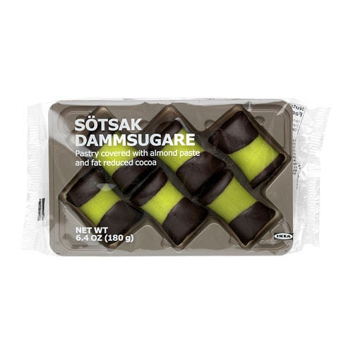 SÖTSAK DAMMSUGARE Pastry with almond paste IKEA A pastry with marzipan coating and chocolate dipped ends.