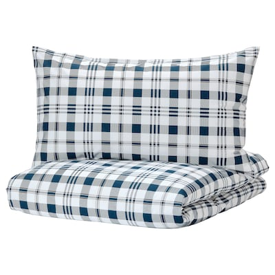 SPIKVALLMO Quilt cover and 2 pillowcases, white blue/check, 200x200/50x80 cm