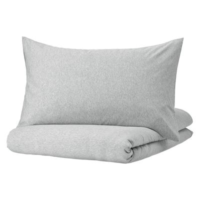 SPJUTVIAL Duvet cover and 2 pillowcases, light grey/mélange, 240x220/50x80 cm