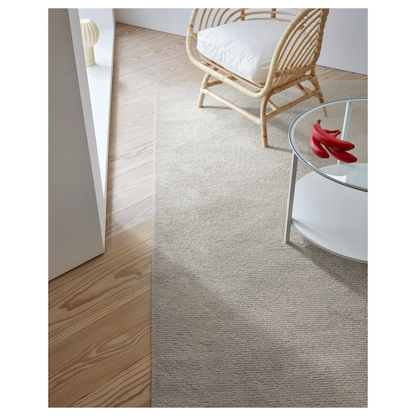SPORUP Rug, low pile, light beige, 200x300 cm