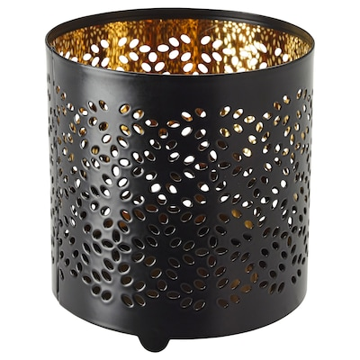 STABBIG Decoration for candle in glass, black, 9 cm