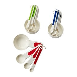 STÄM set of 4 measuring cups, red, white/blue green/blue