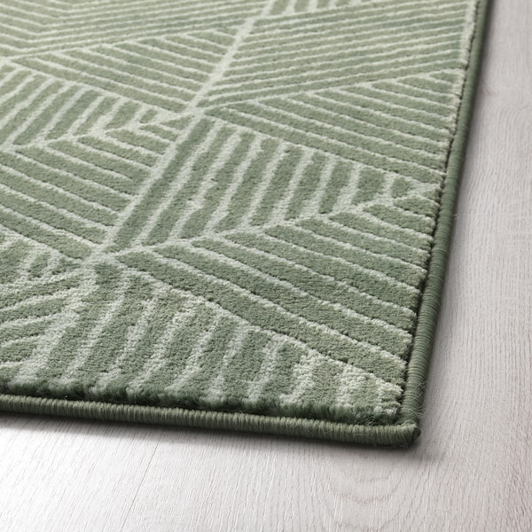 STENLILLE Rug, low pile, green, 170x240 cm