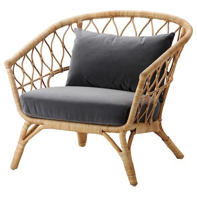 STOCKHOLM 2017 Armchair with cushion, rattan/Sandbacka dark grey