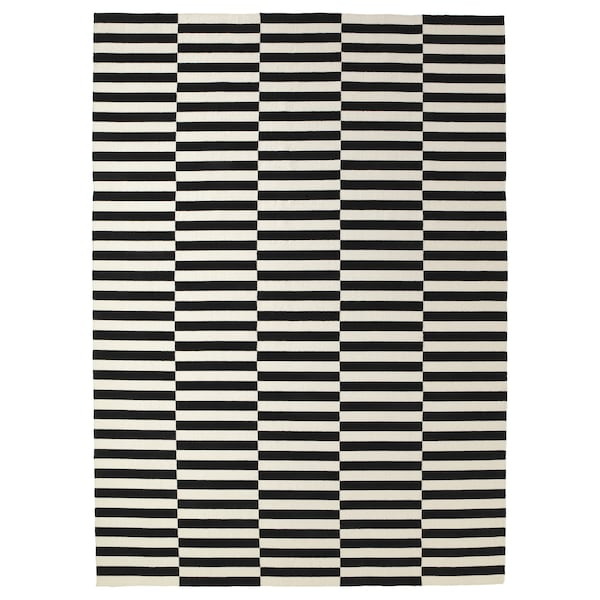 STOCKHOLM Rug, flatwoven, handmade/striped black/off-white, 250x350 cm