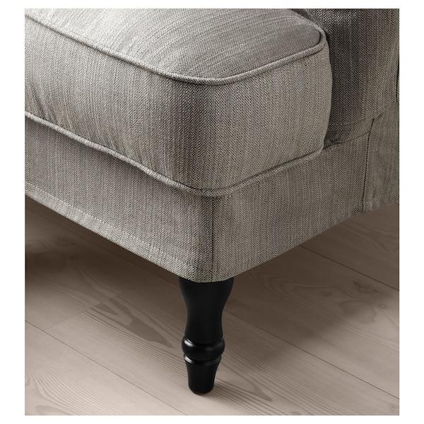 STOCKSUND 3-seat sofa, Nolhaga grey-beige/black/wood