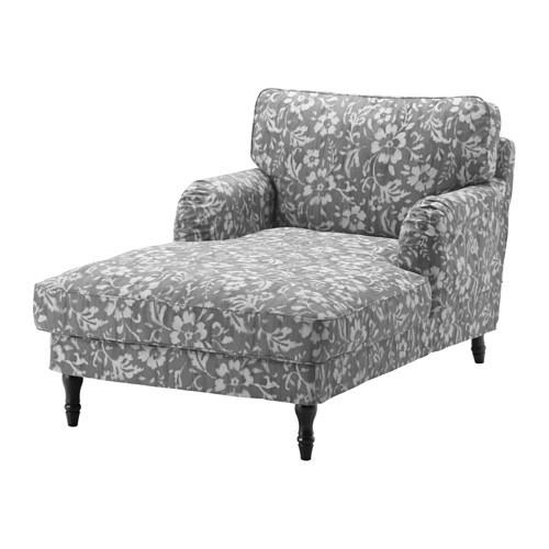 Stocksund chaise longue hovsten grey white black ikea for Black chaise longue