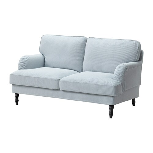 Stocksund Two Seat Sofa Remvallen Blue White Black Ikea
