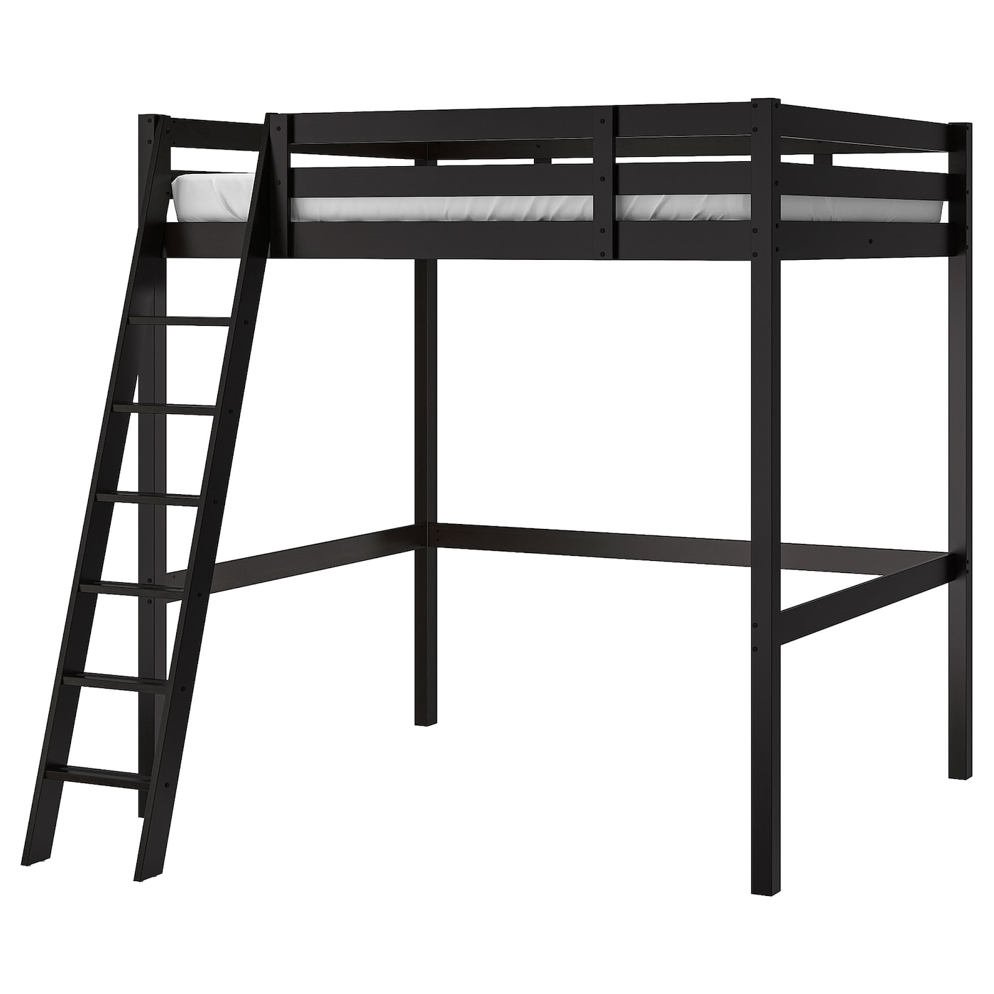 Stora Loft Bed Frame Black Double Ikea
