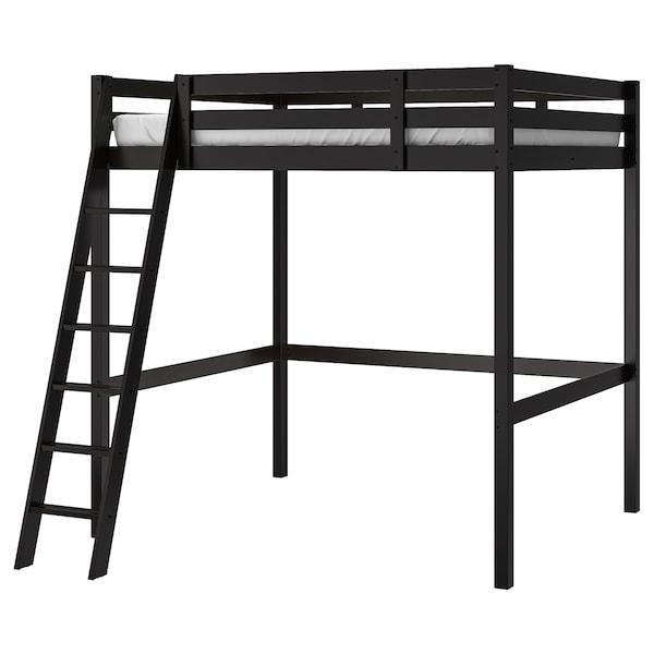 STORÅ Loft bed frame, black, Double