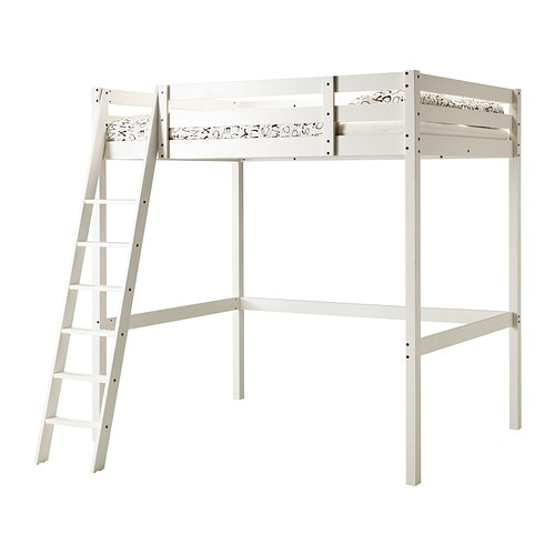 Stor loft bed frame white stain ikea for Hochbett 140x200