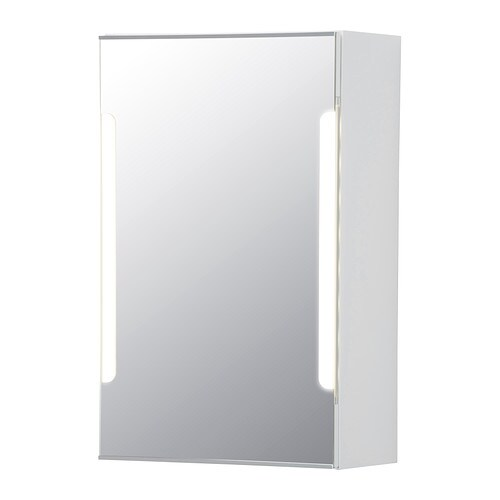 STORJORM Mirror cab 1 door/built-in lighting IKEA The LED lightsource consumes up to 85% less energy and lasts 20 times longer than incandescent bulbs.