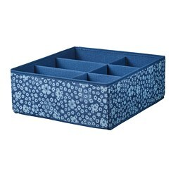 STORSTABBE box with compartments, blue, white