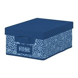 STORSTABBE box with lid, blue, white