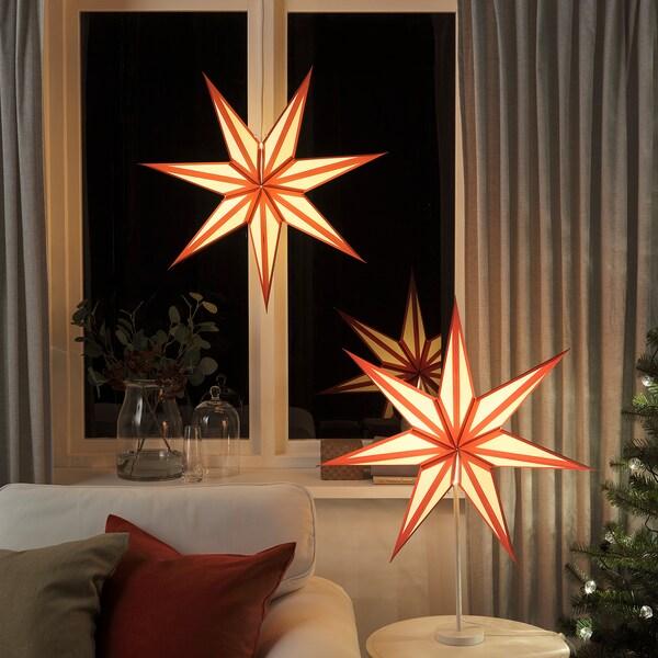 STRÅLA Lamp shade, red/white, 70 cm