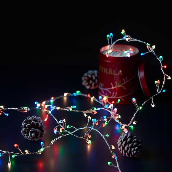 STRÅLA LED lighting chain with 160 lights, battery-operated mini/multicolour