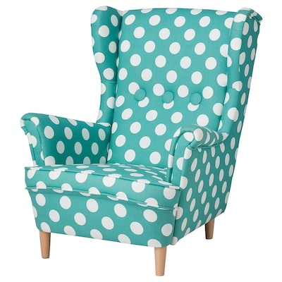 STRANDMON Children's armchair, dotted turquoise