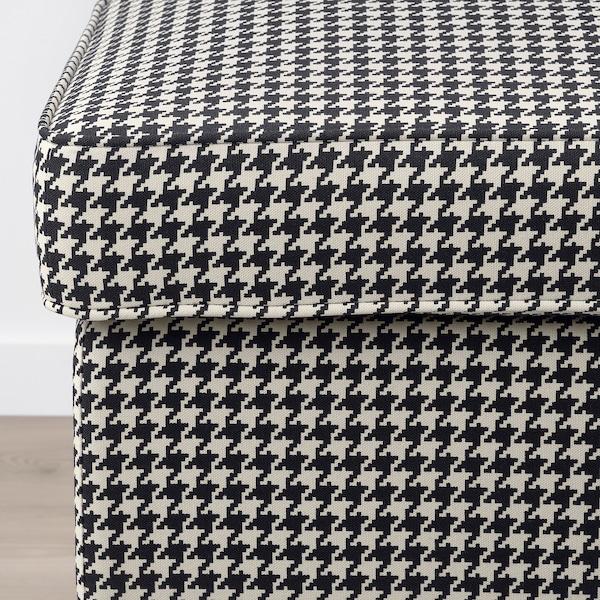 STRANDMON Footstool, Vibberbo black/beige