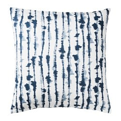 STRIMSPORRE cushion cover, white, blue