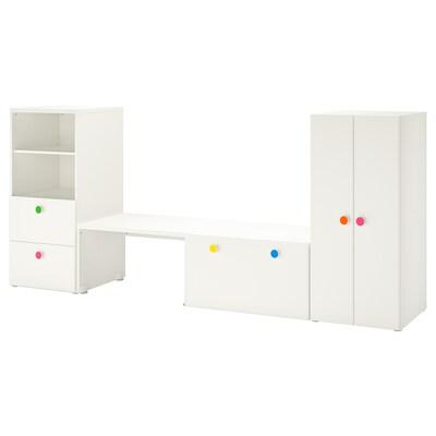 STUVA / FÖLJA storage combination with bench white 300 cm 50 cm 128 cm