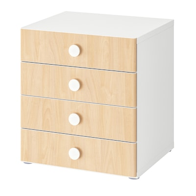 STUVA / FÖLJA storage combination with drawers white/birch 60 cm 50 cm 64 cm