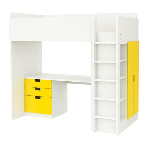 Stuva loft bed combo w 3 drawers 2 doors white yellow ikea for Hochbett 140x200