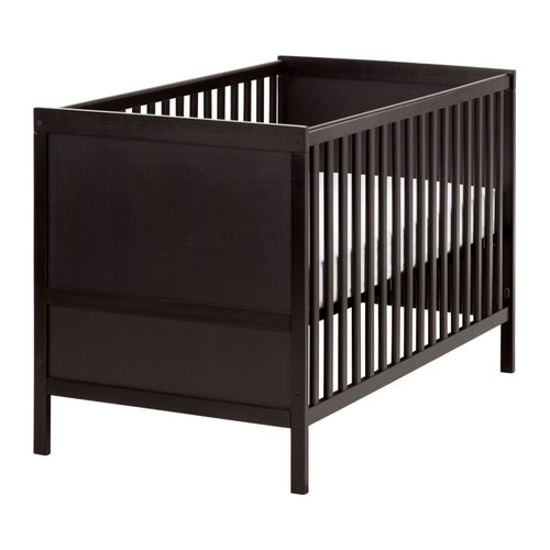 SUNDVIK Cot IKEA The cot base can be placed at two different heights.  Converts into a toddler bed.