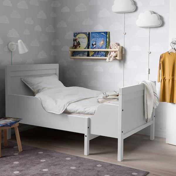 SUNDVIK Ext bed frame with slatted bed base, grey, 91x190 cm