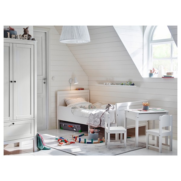SUNDVIK Ext bed frame with slatted bed base, white, 91x190 cm