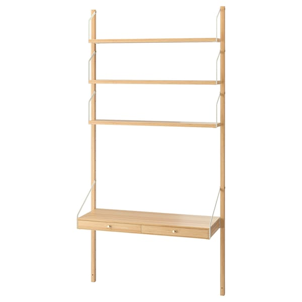 SVALNÄS Wall-mounted workspace combination, bamboo, 86x35x176 cm