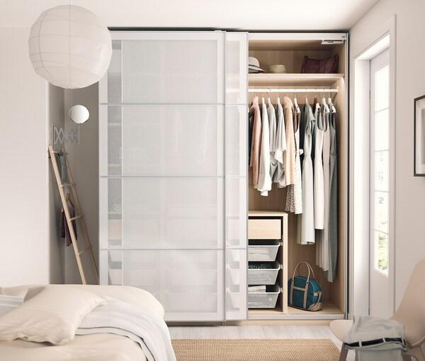 SVARTISDAL 4 panels for sliding door frame, white paper effect, 100x236 cm