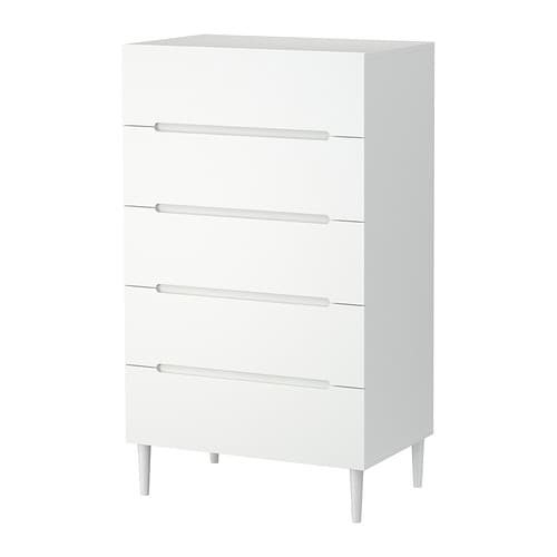 SVEIO Chest of 5 drawers IKEA Drawers with integrated damper that catches the running drawers so that they close slowly, silently and softly.